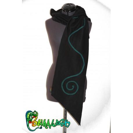 écharpe capuche lutine spirale noir petrole