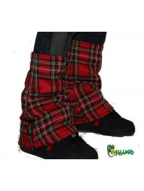 Guêtres écossais rouge  doublée polaire noir