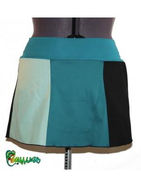 Jupe patchwork noir  canard vert d'eau  36/38