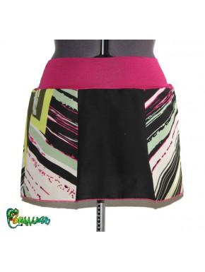 Jupe patchwork noir multicolore rose 40/42