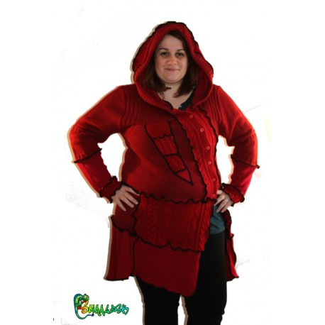 Veste capuche lutin rouge taille 48/50/52