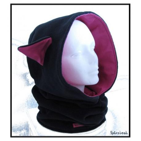 Capuche oreilles de chat noir et rose