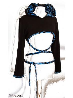 Shrug à capuche noir / zébré bleu