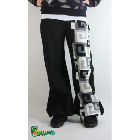 Pantalon large bande spirales