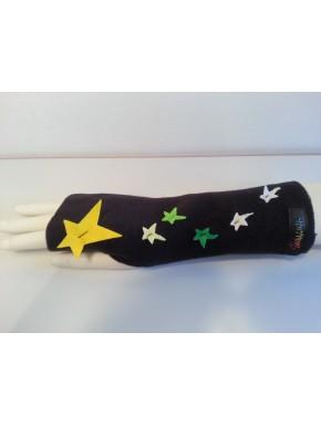 Mitaine polaire noire étoiles jaune vert et blanche