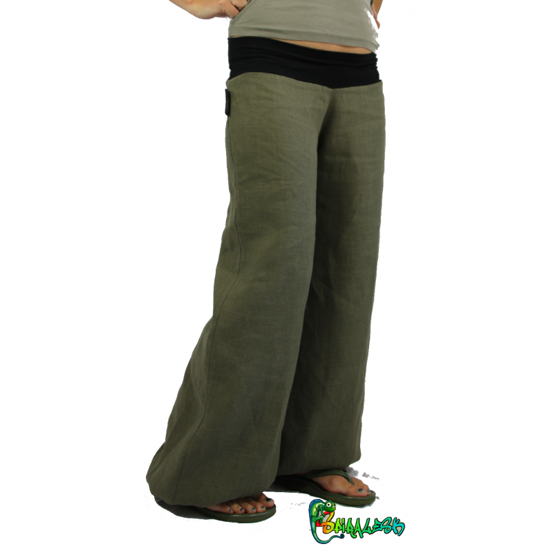 Estremamente pantaloni di lino color kaki HO35