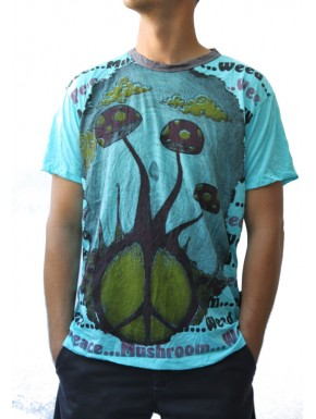 Tee shirt mixte champignon peace