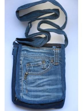 Sac bandoulière en jean patchwork