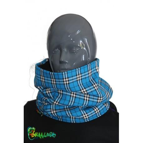 Écharpe tube écossais bleu