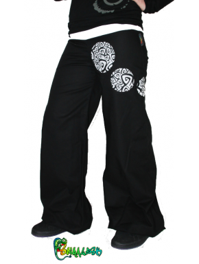 Pantalon large point virgule spirale