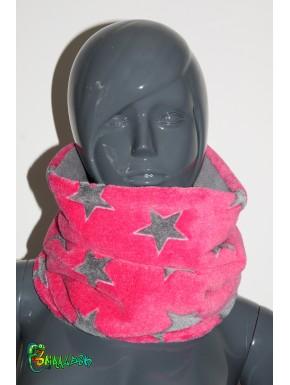 Snood DOUDOU étoiles rose et grise