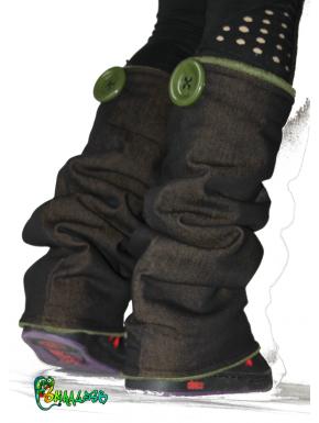 Guêtres jean noir / ocre  et polaire kaki