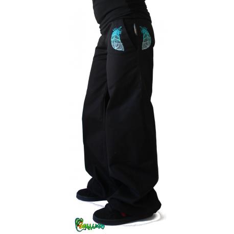 Pantalon large broderie plumes
