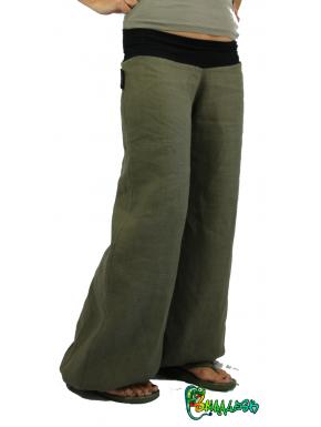 Pantalon coton fin kaki ceinture noire 36-38 -170 max