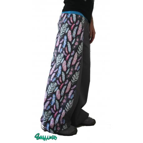 Pantalon large bande plumes