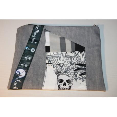 pochette jean gris patch et jack