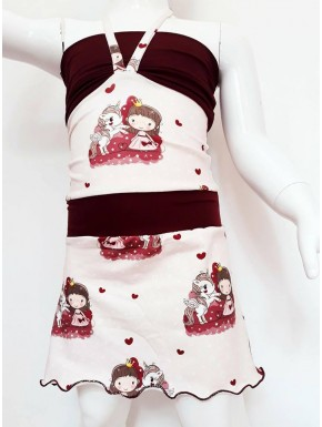 Robe enfant poupée licorne tons rose prune