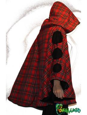Cape à capuche personnalisable  ( écossais rouge )