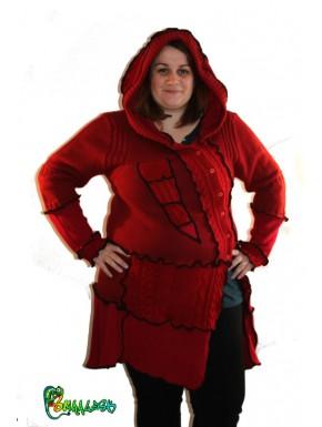 Veste capuche lutin rouge taille 46/48/50/52