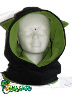 Capuche oreilles de chat noir / vert pomme