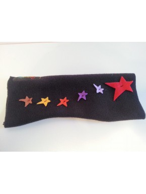 Mitaine polaire noire étoiles multicolores