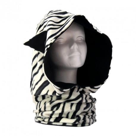 Capuche oreilles de chat zebre et noir