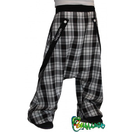Harem pants and plaid straps
