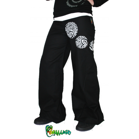 Pantalon large point virgule spirale