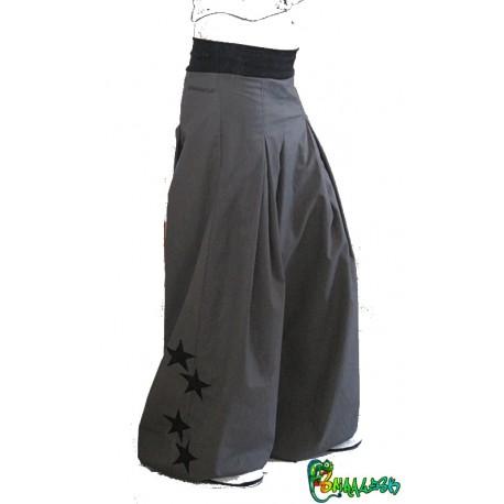 Pantalon large étoiles gris et noir