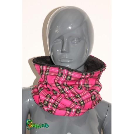 Écharpe tube écossais rose