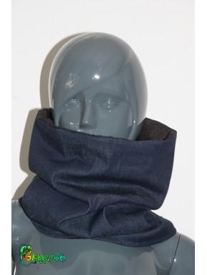 Écharpe tube jean doublée polaire