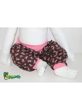 Sarouel bébé et enfant tête de mort rose 3 mois à 10 ans