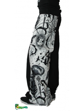 Pantalon large bande tête de mort corbeau