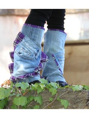 Guêtre Jean UP' écossais violet  et poche