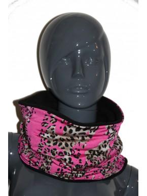 Snood léopard rose et marron noir   unisexe