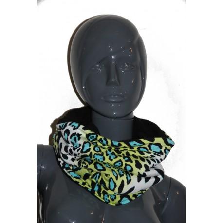 Snood léopard turquoise jaune  noir   unisexe