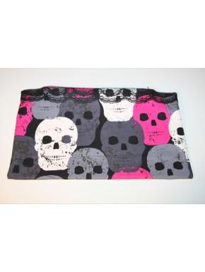 pochette tête de mort rose gris