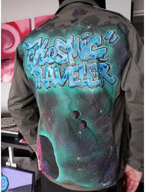 """veste militaire taille L mixte customisée """" Kosmic Traveler """""""