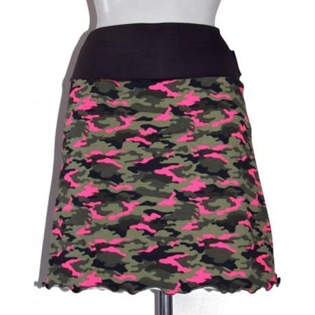 Jupe en jersey camouflage kaki rose néon