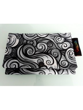 Tobacco pouch Printed cotton black and white spirals