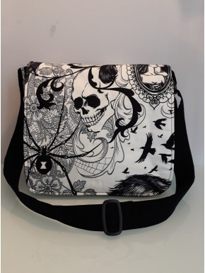 Sac besace bandoulière  skull tatoo taille M