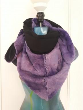 Chèche flamme violet et noir