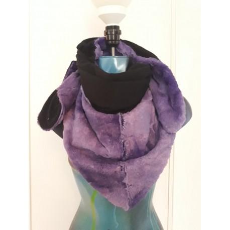Chèche fausse fourrure  violet et noir