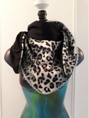 Chèche fausse fourrure léopard gris dentelle et noir