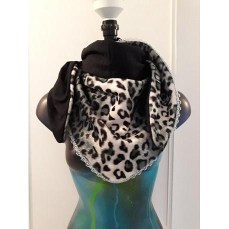 Chèche fausse fourrure léopard marron et noir