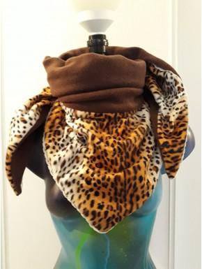 Chèche fausse fourrure léopard marron dentelle et marron