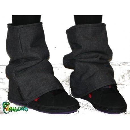Guêtres en jean doublée polaire noir